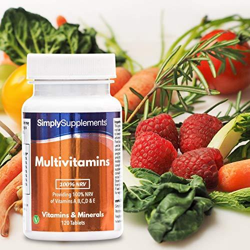 Multivitaminas 100% IDR ABCD y E - 120 comprimidos - 4 meses de suministro - SimplySupplements: Amazon.es: Salud y cuidado personal