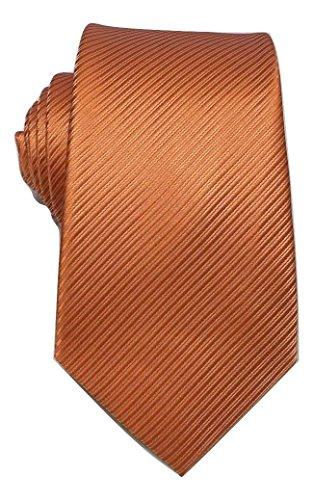 amp;L® Classic Silky Prom Jacquard Tie Striped L Wedding Orange Woven Gift Necktie Men's pd16wnq