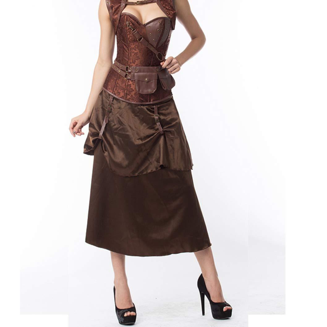 Brown 01 AVITMOS Women's Gothic Steampunk Satin Brocade Corset Bustier Purple Corpetes Waist Slimming Cincher
