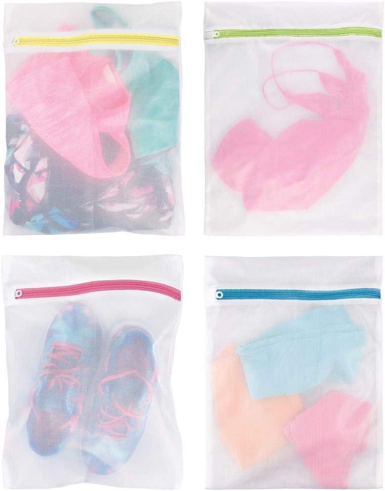 mDesign Medium Laundry Mesh Wash/Travel Bag - Fine Weave Fabric, Zipper Closure, Washing Machine and Dryer Safe, Protect Lingerie, Delicates, Underwear, Bras, Leggings, 4 Pack - White/Multi