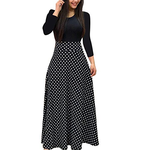 iLUGU Neutral Maxi Dress for Women Long Sleeve Round Collar Dot Floral Print Patchwork Solid Color Tops Black