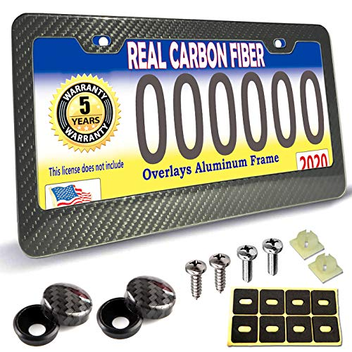 PUQIN-AUTO License Plate Frame Real Carbon Fiber -1 Pack Handmade Black Aluminum Frame Carbon Cloth Wrapped and Stainless Steel License Plate Frames Screws with CF Screw Caps- 2 Hole