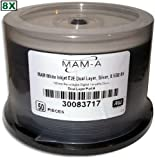 MAM-A (Mitsui) 8X Double Layer 8.5 GB White Inkjet Hub Printable DVD+R's 50-Pak in Cakebox