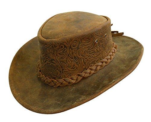 Kakadu Australia Spaniard Leather Hat with shapeable Brim - Kakadu Leather Hat