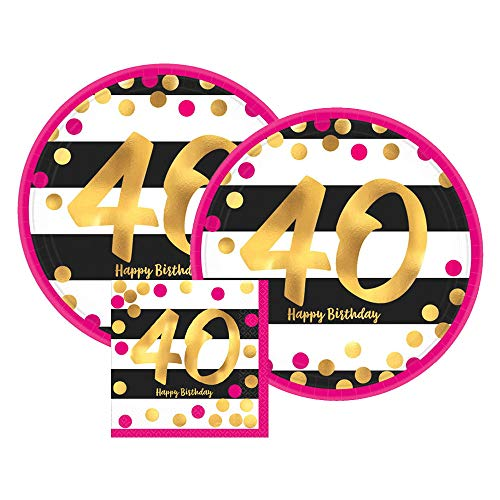 Amscan Pink & Gold 40th Birthday Party Paper Plates and Paper Napkins, 16 Servings, Bundle- 3 Items -