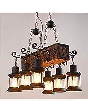Lampa wisząca LED w stylu vintage, z drewna, rustykalna lampa do jadalni, styl retro, szkło, lampa wisząca E27, regulacja wysokości, żyrandol do kuchni, salonu, biura, baru, kawiarni lampa sufitowa