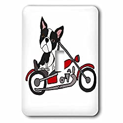 3dRose All Smiles Art Pets - Funny cute Boston Terrier Dog Riding Motorcycle - Light Switch Covers - single toggle switch (lsp_263667_1)