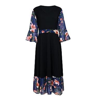 Kanzd Women Midi Dresses V Neck Wrap Chiffon Floral Long Sleeve Plus Size Prom Dress (