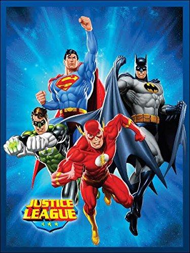 Justice League (Superman, Batman, the Flash, and Green Lantern) Sunburst Blue Luxury Plush Blanket 60″x80″ Twin Size (Blanket Lantern Green)