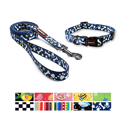 - QQPETS Dog Leash and Collar Set Personalized Collars Matching Heavy Duty Leashes for Small Dogs Training Walking (S, Bone)
