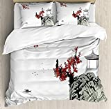 Our Wings Asian Comforter Set,Asian River Scenery Cherry Blossoms Boat Cultural Hints Mystical View Artsy Bedding Duvet Cover Sets Boys Girls Bedroom,Zipper Closure,4 Piece,Ruby Pale Grey Twin Size
