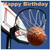 "Décoration gâteau ""Happy Birthday"" Basketball carré 19cm comestible glaçage sucre"