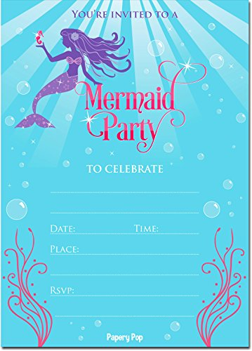 30 Mermaid Invitations with Envelopes (30 Pack) - Mermaid Party Invitations - Kids Birthday Invitations for Girls