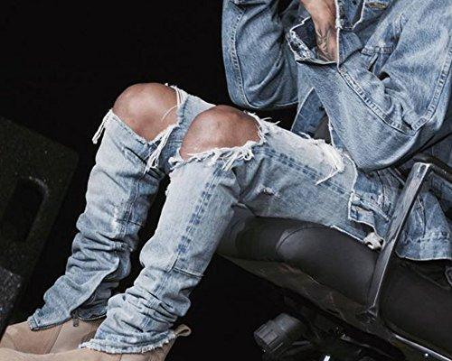 Strappati Jeans Nel Slim Fori Casuale Denim Uomo Pantaloni Ginocchio Pants Fitted Azzurro Retrò Chiaro 0nqpWHnwz5