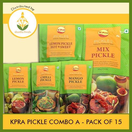 K-Pra Pickle Combo A (Contains 15 Pkts) Chilli Pickle-3, Mango Pickle-3, Mixed Pickle-3, Lemon Pickle-3 & Sweet Lemon Pickle-3 (Each Pkt 200g) T-B
