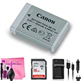 Canon Battery Pack NB-13L + On-The-Go Travel Charger + 16GB Memory Card + Camera Works Cleaning Cloth (For: G7 X, G9 X, SX620 HS, SX720 HS, SX730 HS, G1 X Mark III, G5 X, G7 X Mark II, G9 X Mark II)