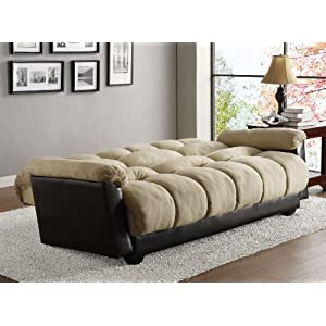 Homelegance 4802MFR Piper Convertible/Adjustable Sofa with Bed, Microfiber and Bi-Cast Vinyl