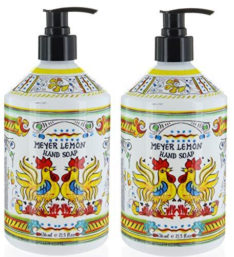 2 Bottles, Italian Deruta Hand Soap, Meyer Lemon, 21.5 FL OZ By Home & Body Company