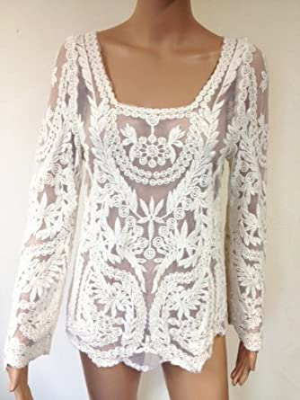 2444558f2248a9 Womens Sexy Semi Sheer Sleeve Embroidery Floral Lace Crochet Top Blouse Tee  (UK 8