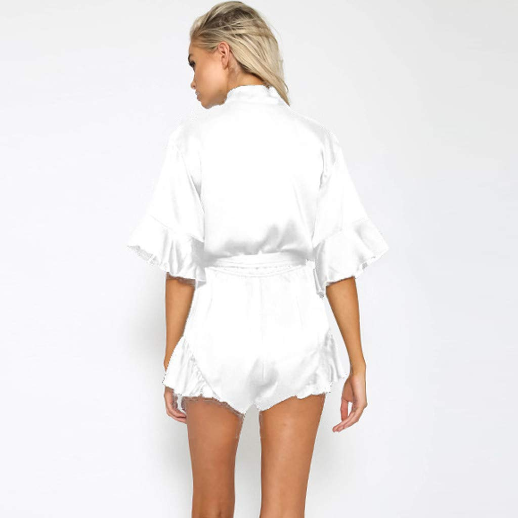 Cool /& Comfy DEATU Summer Chiffon Jumpsuits for Women Ladies Rompers V-Neck Ruffled Short with Belt Short Sleeve