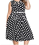 YeeATZ Polka Dot Bohemain Print Dress with Keyholes(Black,S)