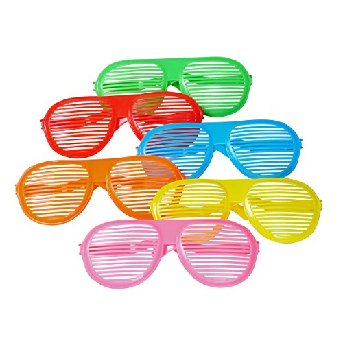 Seekingtag Shutters Colorful Jumbo Blue Lens Sunglasses for Costumes Cosplay Halloween Party Fun Party Favor Photo Booth Props – Party Pack of 6, 10