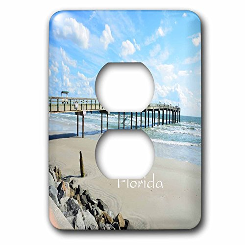3dRose Florida - Image of St Augustine Beach - Light Switch Covers - 2 plug outlet cover - Augustine Florida St Outlet