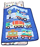 Everyday Kids Toddler Nap Mat with Removable Pillow -Choo Choo Train- Carry Handle with Velcro Strap Closure, Rollup Design, Soft Microfiber for Preschool, Daycare, Kindergarten Sleeping Bag
