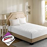 Beautyrest - 3M Scotchgard Heated Mattress Pad Full Size -Secure Comfort Technology- Luxury Quilted Electric Mattress Pad with Deep Pocket - White - 5-Setting Heat Controller - 5 Year Warranty