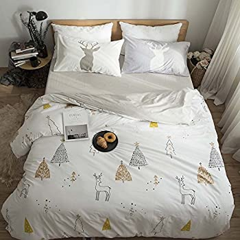 FenDie Bedding Collections King Cotton Deer & Tree Print Duvet Cover Set White 3 Pieces Home