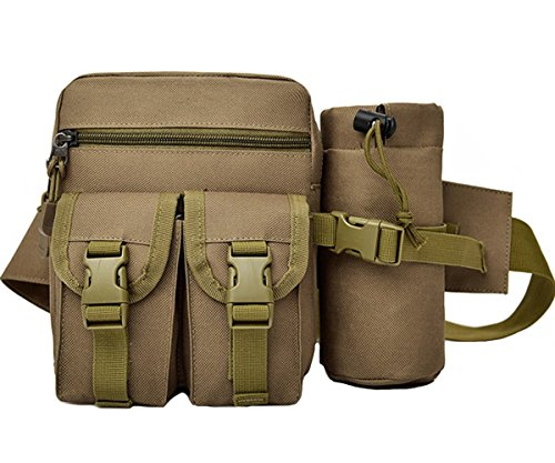 Rullar Hiking Waist Fanny Pack With Water Bottle Holder Tactical Drop Leg Bag Tackle Storage Bags & Wraps Running Waist Hip Belt Bag Motorcycle Bike Pouch Shoulder Bag Khaki
