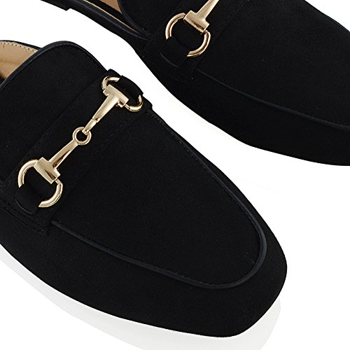 Backless Slip GLAM Buckle Faux Womens On Slider Black Shoes Loafers Flat Ladies Suede Smart Open ESSEX New qPRxXwRf