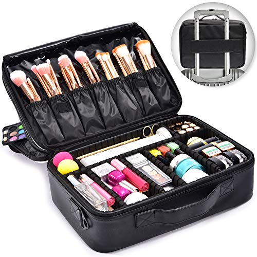Joligrace Makeup Bag Organizer 15 Inch Professional Cosmetic Train Case 3 Layer Beauty Artist Storage Brush Box with Shoulder Strap PU Leather Designed for Home Travel or Studio Black