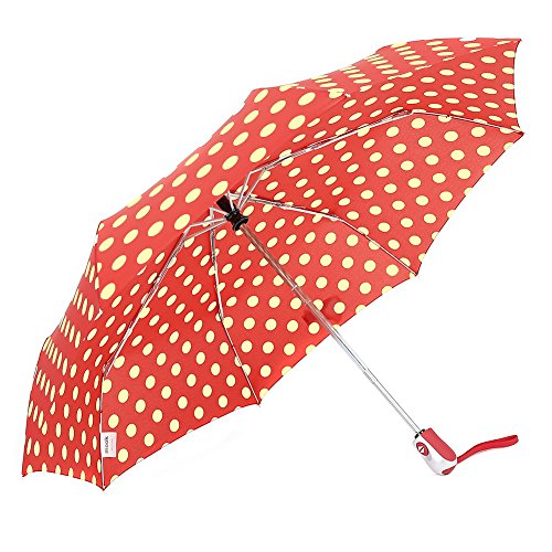 ZKDT Cute Polka Dots Tri-fold Travel Umbrella Light Weight Portable Umbrellas for Women (Red)