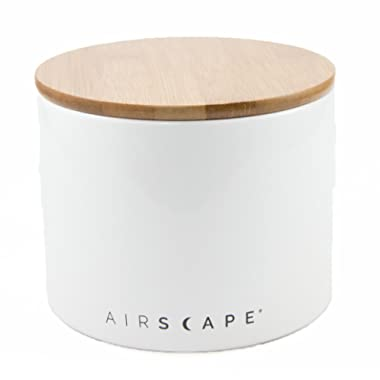 Airscape Ceramic and Food Storage Canister, 4  Small - Patented Airtight Inner Lid Preserves Food Freshness - Glazed Ceramic with Bamboo Top - Snowflake White