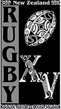MCTISSUS Serviette de Plage Rugby New Zealand 95 cm x 175 cm