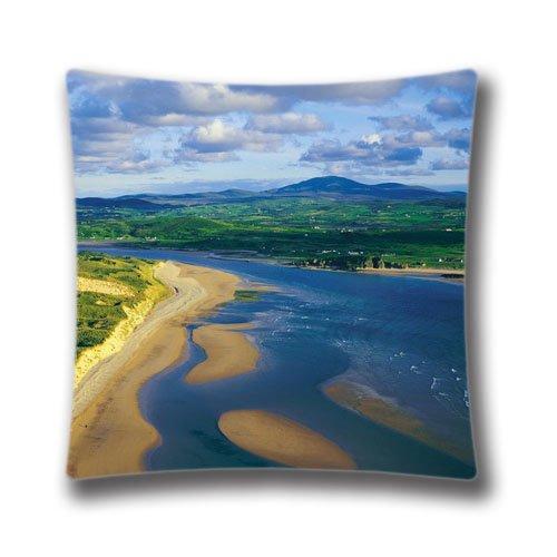Pop Home Home Decor Cotton & Polyester Square Pillowcase Inishowen Trawbreaga Bay Five Finger Beach Printed Throw Pillow Sham Cushion Cover 18