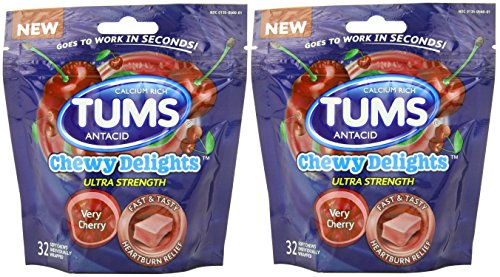 Tums Chewy Delights Soft Chews, Very Cherry, (2 Pack of 32count)