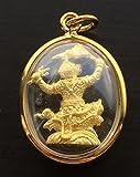Hanuman Chern Tong Pim Lek (Hanuman with Battle Flag) Miracle Gift Thai Magic for Love & Lucky Pendants Amazing Thailand Thai Buddha Gold Crystal Mini Pendant