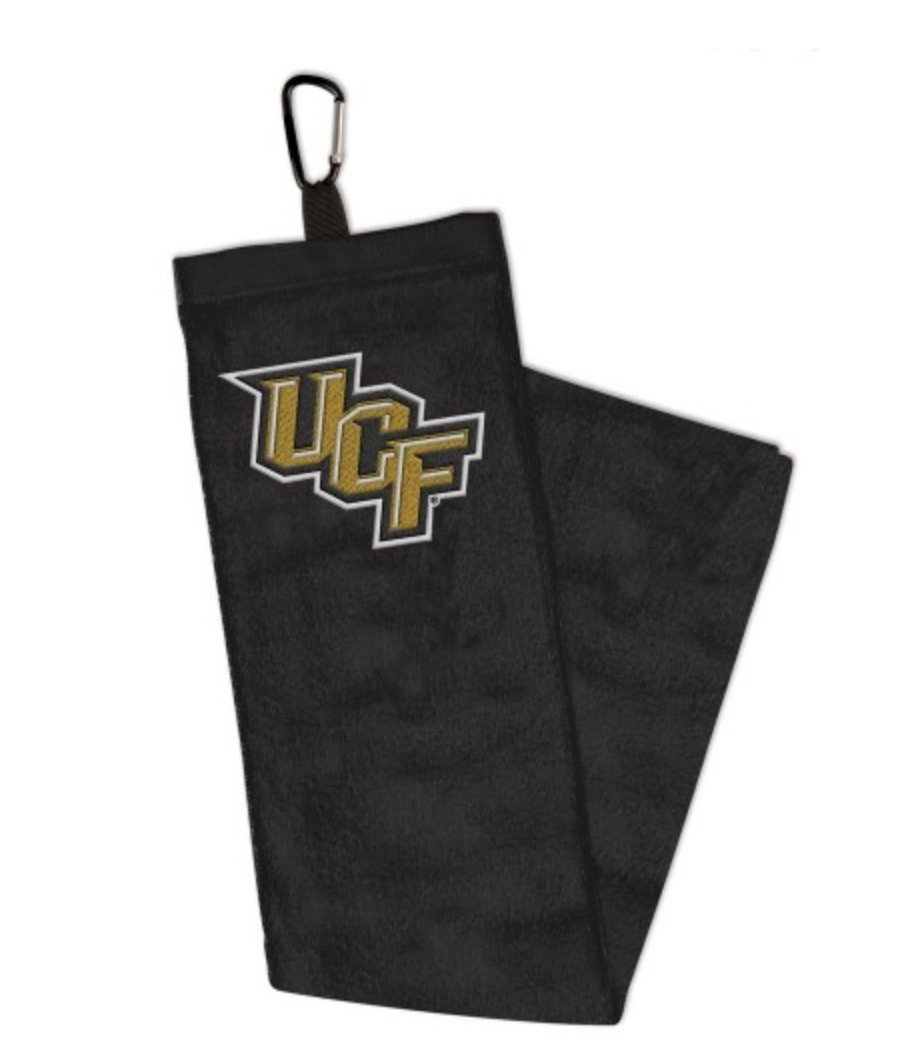 NCAA UCF Central Florida Knights 15x25 inch Cotton Velour Tri Fold Embroidered Golf Towel