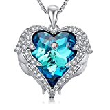 Caperci Angel Wings Sparkling Swarovski Crystal Heart Pendant Necklace, 18''