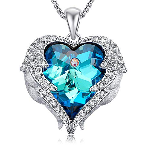 (Caperci Angel Wings Blue Swarovski Crystal Heart Pendant Necklace for Women, Romantic Gift for Her)