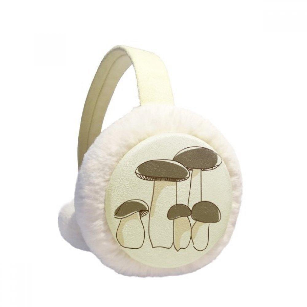 Delicious Fresh Mushroom Pattern Winter Earmuffs Ear Warmers Faux Fur Foldable Plush Outdoor Gift
