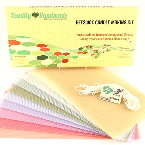 Make Your Own Beeswax Candle Kit - Includes 10 Pastel Colored Full Size 100% Beeswax Honeycomb Sheets and Approx. 6 Yards (18 Feet) of Cotton Wick. by Toadily Handmade Beeswax Candles