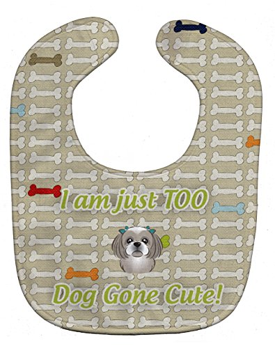 Caroline's Treasures Too Cute Baby Bib, Gray Silver Shih Tzu, Large - Gray Shih Tzu