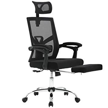 premium selection cd459 1d2c6 Recliner Office Chair Mesh High Back Office Task Computer Desk Chair with  Footrest