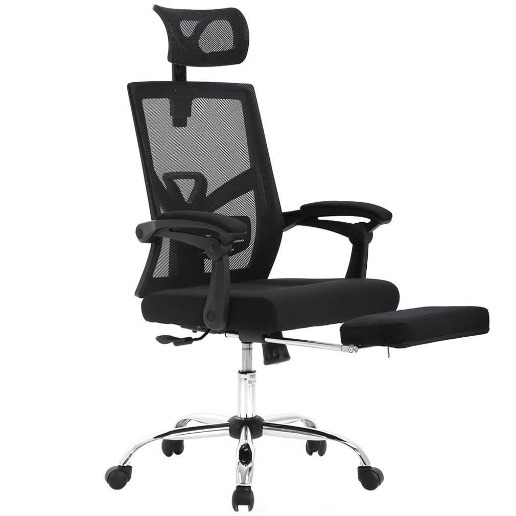 Recliner Office Chair Mesh High Back Office Task Computer Desk Chair with Footrest