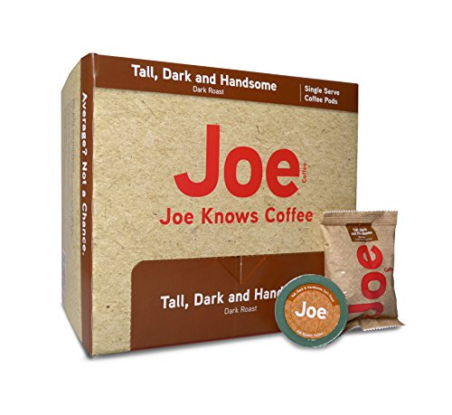 Joe Knows Coffee, Tall Dark and Handsome, Single Serve Coffee Pods, 40 count, Rich, Bold Roast, Compatible with Keurig 2.0 brewers