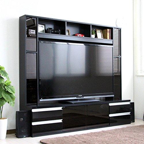 テレビ台 ハイタイプ 鏡面 リビング壁面収納 TV台 テレビラック ゲート型AVボード (180cm幅, ブラック) B07648LGTQ  ブラック 180cm幅