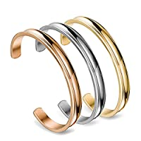 10mm Stainless Steel Bracelet 3 Colors, Grooved Cuff Bangle High Polished Metallic Bracelet for Women Girls